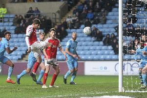 New captain Ched Evans heads Fleetwood level at Ricoh Arena