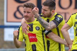 Liam Agnew, right, celebrates with Josh Falkingham as Harrogate Town claimed a first win in five when they visited Havant & Waterlooville. Picture: Matt Kirkham