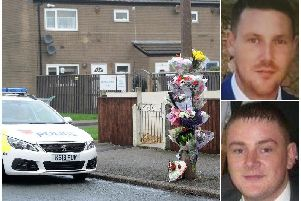 Floral tributes were left at the scene of the attack in Fleetwood, where Stephen Derbyshire (top rght) killed Michael Hart (bottom right)