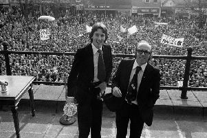 Manager Nobby Stiles and player Mike Elwiss on Harris Museum balcony at the Civic Reception given to PNE in recognition of their promotion