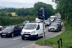 Traffic on the A585.