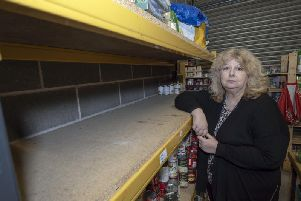 """Angela Jones, volunteer coordinator at St Catherine's Church Centre. The food bank's stocks have fallen to """"worryingly low"""" levels."""
