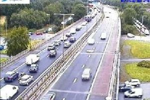 The crash happened at around 7.15am and is expected to cause delays until around 10am