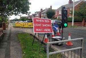 The temporary traffic lights in Bispham Road, Bispham, at 6.50pm on Sunday, August 4, 2019