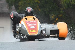The Staintons in sidecar-racing action at Oulton Park for the final round of the British Championship.