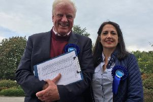 Winning candidate Jane Ellis with Sir MP Edward Leigh.