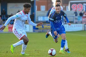 Action involving Gainsborough Trinity, who came from behind to salvage a point at Hyde United.