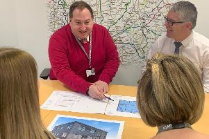 Leader of West Lindsey District Council, Coun Giles McNeill reviews plans for the new Central Depot with Rob Gilliot, Operational Service Team Manager at the council