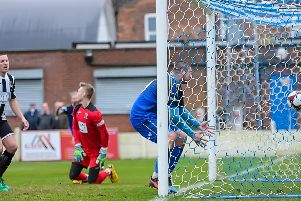 Gregg Smith pulls a goal back for Gainsborough Trinity, but they lost their unbeaten run in a 3-1 defeat. PHOTO: John Rudkin