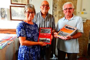 Author David Seymour (centre) with two of the first readers to buy signed copies, Sandra and Michael Butler.