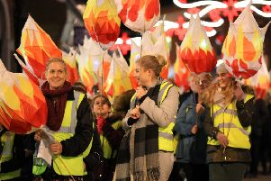 The colourful scene created by last year's inaugural Illuminate lantern parade in Gainsborough town centre.