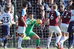 Jack Cork watches on as Tom Heaton gathers the ball against Spurs