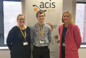 Apprentice Josh Aisthorpe (centre) with Jill Dickson (left), of Acis, and Nicola Hall, of Lincoln College.