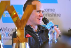 Chris Froome at a press conference held at Leeds Civic Hall on the eve of the Tour de Yorkshire. Picture Tony Johnson.