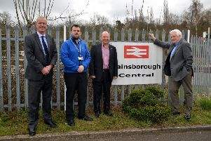 Happy members of the NNLCRP at Gainsborough Central, from left,  Dave Skepper (Stagecoach), Grant White (West Lindsey Council). Rick Brand and Barry Coward (both NNLCRP). Photo: Rachel Atkins.