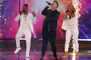 Michael Rice performs at Eurovision on Saturday night.