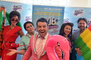 Club Tropicana cast, from left: Emily Tierney, Kate Robbins, Joe McElderry, Amelle Barrabah and Neil McDermott.