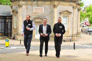 Officials from organisers Yorkshire 2019 visting Harrogate - Charlie Dewhirst, chief executive Andy Hindley and Nick Howles. (Picture: Gerard Binks)
