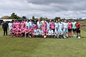 The teams pictured ahead to the game. Photo with thanks to Louise Rowe and the Chloe and Liam Together Forever Trust.