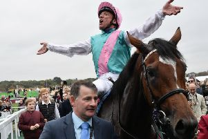 Europe's best racehorse, Enable, ridden by Frankie Dettori, after their success in the Prix de l'Arc de Triomphe at Longchamp last October. (PHOTO BY: Philippe Lopez/Getty Images).
