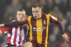 Johnstones Paint 'Sheffield United vs Bradford City''Utd's Neil Collins tackles Ross Hannah