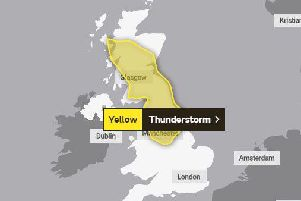 The yellow weather warning is in place across much of Scotland and Northern England.