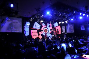 CAMBERLEY, ENGLAND - JANUARY 11: General view inside the venue during the quarter-final match between Scott Mitchell of England and Jim Williams of Wales during Day Seven of the BDO World Darts Championship at Lakeside Country Club on January 11, 2019 in Camberley, England. (Photo by Alex Burstow/Getty Images)