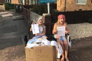 An innovative pair of cheeky sisters tried to fund their house move across the country to Castleford - by having a street sale of their mothers used underwear.