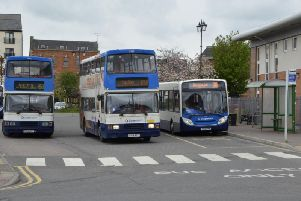 Buses at Gainsborough Bus Station.