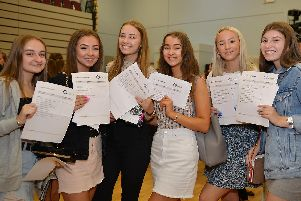 GCSE results day at Outwood Academy Portland, pictured from left Abigail Hinchliffe, Ashleigh Doona, Millie Watts, Tia Lewis, Ellie Salmon and Eve Spink