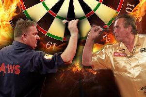 Darts stars Colin Lloyd (left) and Bobby George are coming to Gainsborough.