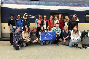 The group of campaigners with Gina Dowding MEP travelling to Brussels.