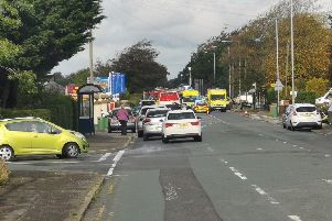 The scene of the crash in Garstang Road, Barton this afternoon. Credit - Cllr Keith Martin