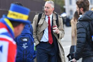 """Hilary Benn, Chair of The House of Commons' Brexit Committee, arrives at the Houses of Parliament in London ahead of Prime Minister Boris Johnson delivering a statement in the House of Commons on his new Brexit deal after the EU Council summit, on what has been dubbed """"Super Saturday"""". Picture: Jacob King/PA Wire"""