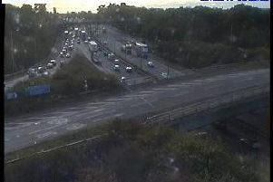 Traffic building on the M6 southbound from junction 29 (photo Highways England).