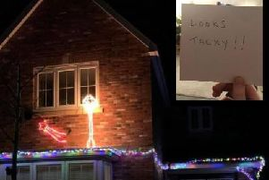 The Shaw family's Christmas lights in Joe Lane, Catterall, and the anonymous note left on their car windshield