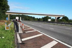 Nans Nook footbridge south of Lancaster is being removed during a weekend motorway closure in January. Picture: Highways England