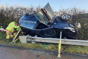 A woman has been taken to hospital after her Kia 4X4 overturned following a collision with a HGV on the M6 near Lancaster at 9.15am (December 19). Pic: Lancashire Police