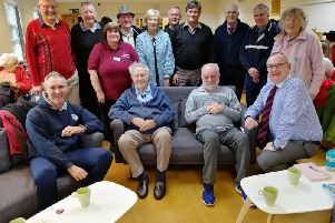 Veterans in Wyre enjoy one of their regular get-togethers - organised by Dave Whitworth (front left) and armed forces champion County Cllr Alf Clempson (front right)