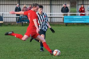 Jordan Ball gets a shot in for Heanor against Clipstone. Photo/Heanor Town FC