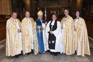 Canon Pastor, Rev. Canon Andrew Horsfall; The Dean of Blackburn, The Very Rev. Peter Howell Jones; Rt Rev. Julian Henderson, the'Bishop of Blackburn; Rev. Canon Professor Jenn Strawbridge; Rt Rev. Philip North, the Bishop of Burnley and Vice Dean and Canon Missioner, Rev. Canon Dr Rowena Pailing at the service