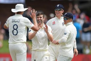 Hoping to be fit: England bowler Mark Wood celebrates after Stuart Broad catches Kagiso Rabada in the Third Test. Picture: Getty Images