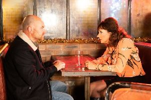 Tim and Charlie in Coronation Street. Tim Metcalfe is played by Joe Duttine and Charlie is played by Sian Reeves who stars in By The Waters Of Liverpool.