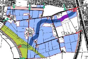 The proposed route of the link road (dark blue) through the Pickerings Farm site from Penwortham Way in the west and Leyland Road in the east.