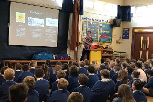Jack Dinsley talking to pupils at St Peter's Primary School, Lytham