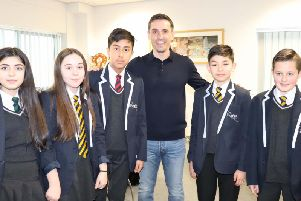Gary Neville with pupils from Fulwood Academy