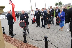 Wreath laying at a previous Merchant Navy Day Service in Mill Dam, South Shields.