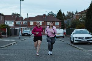 Laura and Tiff out training