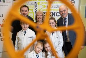 (L-R top) Senior lecturer in computer aided engineering Dr Matt Dickinson, UCLan Joint Institutional Lead Dr Lynne Livesey and Liam Weatherill, Regional Director Primary Engineer, with children from St Andrews C E in Preston and Salesbury CE