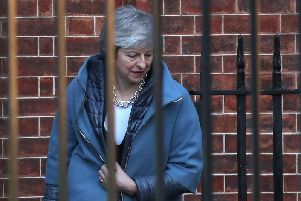 Prime Minister Theresa May, pictured at Westminster today.